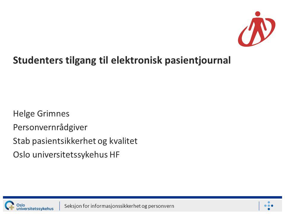Studenters tilgang til elektronisk pasientjournal