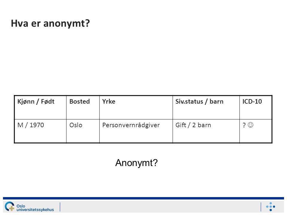 Hva er anonymt Anonymt Kjønn / Født Bosted Yrke Siv.status / barn
