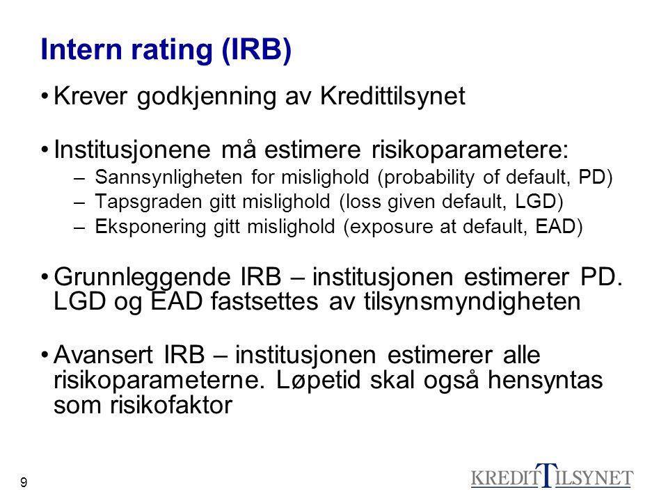 Intern rating (IRB) Krever godkjenning av Kredittilsynet