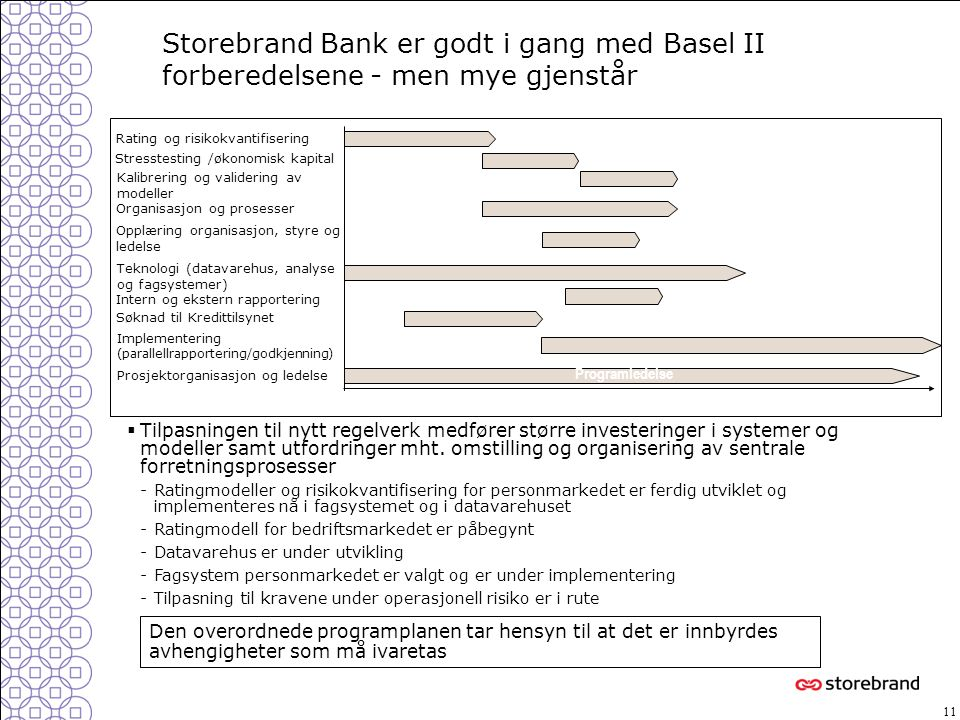 Storebrand Bank er godt i gang med Basel II forberedelsene - men mye gjenstår