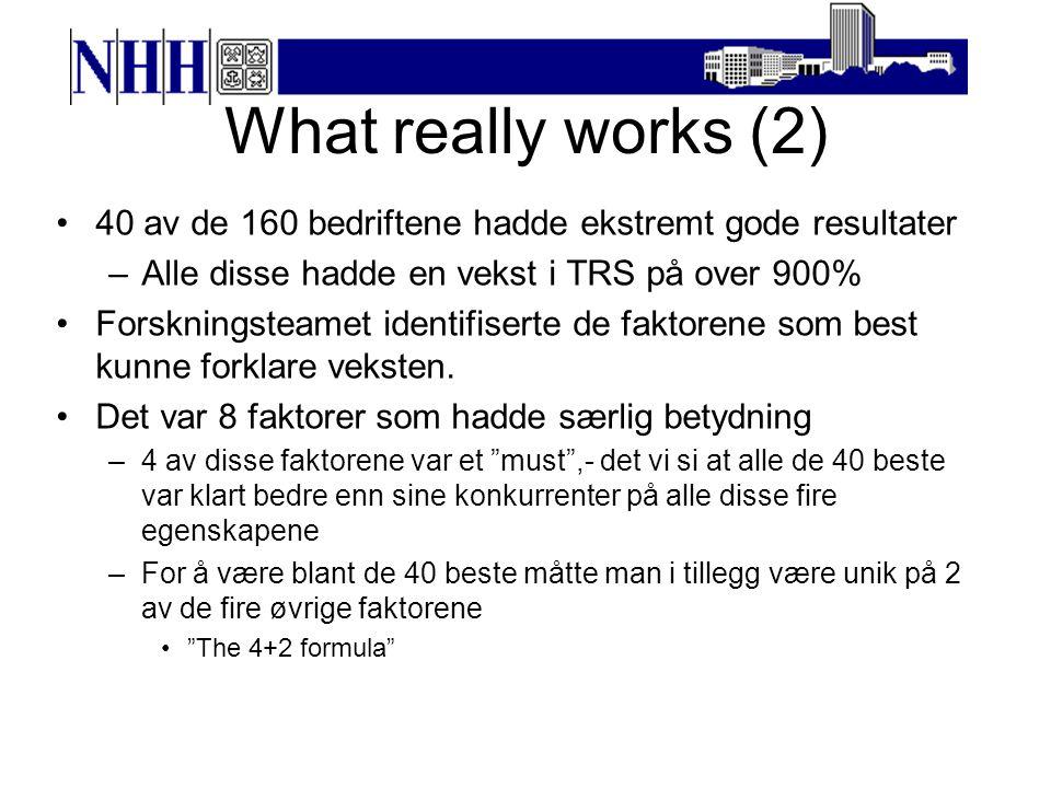 What really works (2) 40 av de 160 bedriftene hadde ekstremt gode resultater. Alle disse hadde en vekst i TRS på over 900%