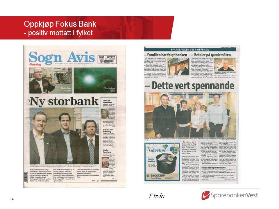 Oppkjøp Fokus Bank - positiv mottatt i fylket