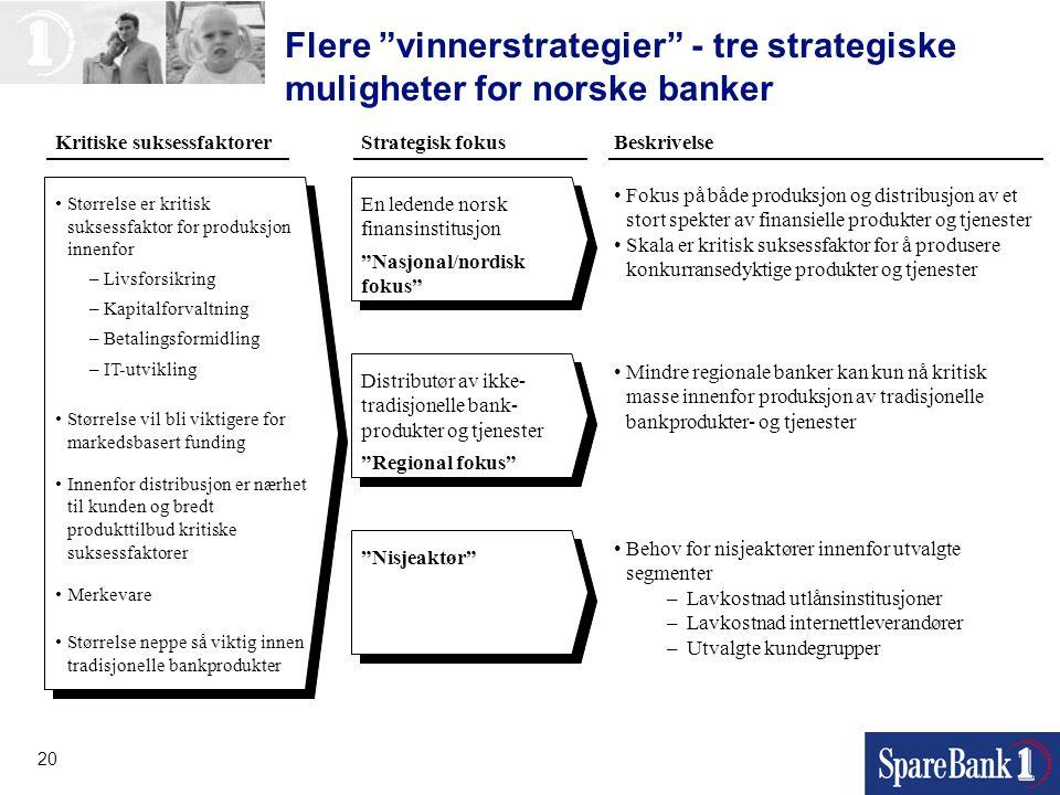 Flere vinnerstrategier - tre strategiske muligheter for norske banker