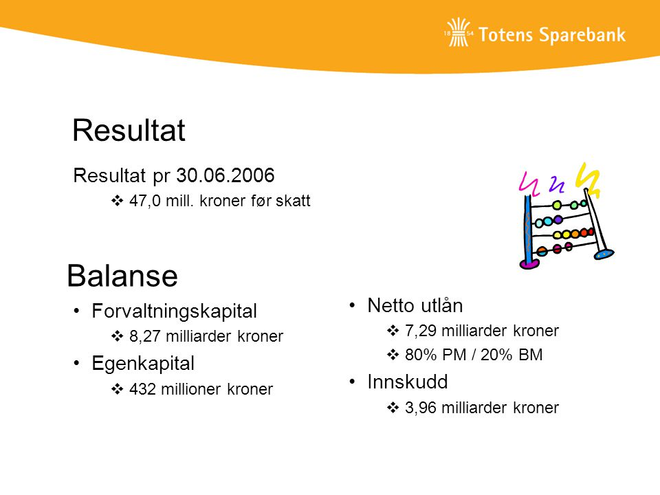 Resultat Balanse Resultat pr 30.06.2006 Netto utlån