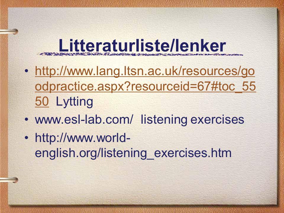 Litteraturliste/lenker