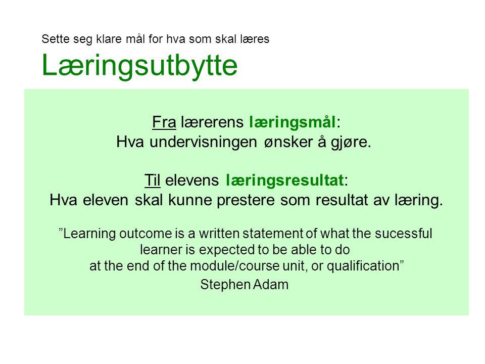 Fra lærerens læringsmål: Hva undervisningen ønsker å gjøre.