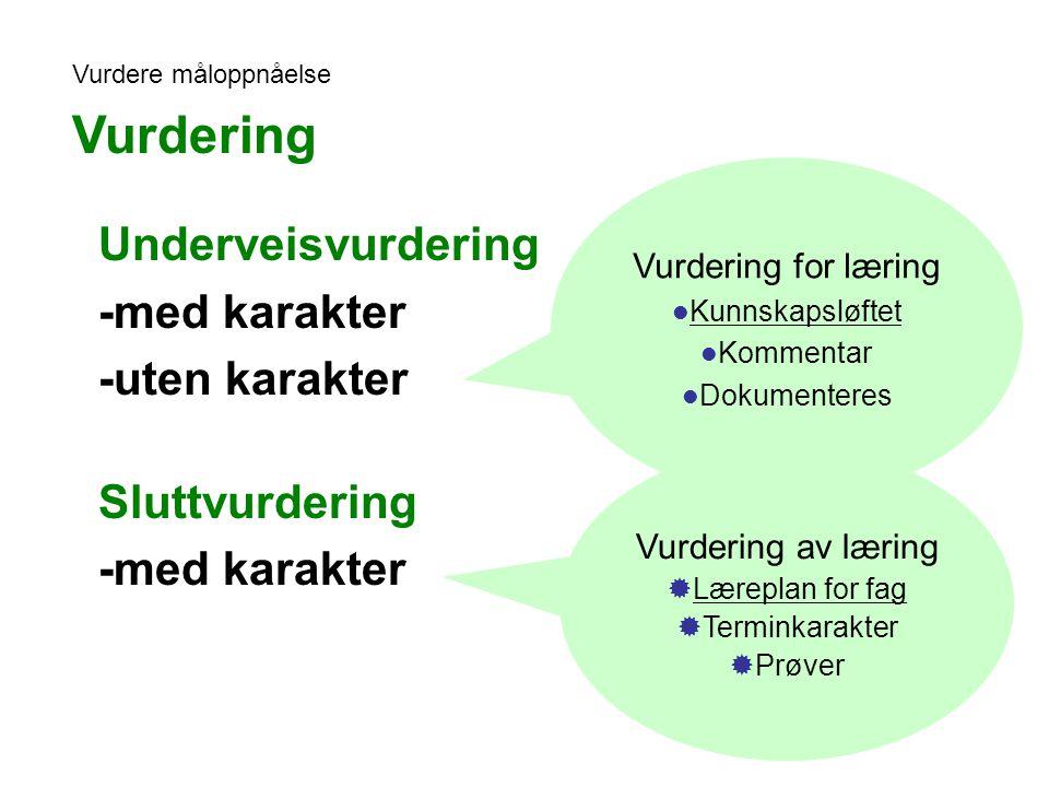 Vurdering Underveisvurdering -med karakter -uten karakter
