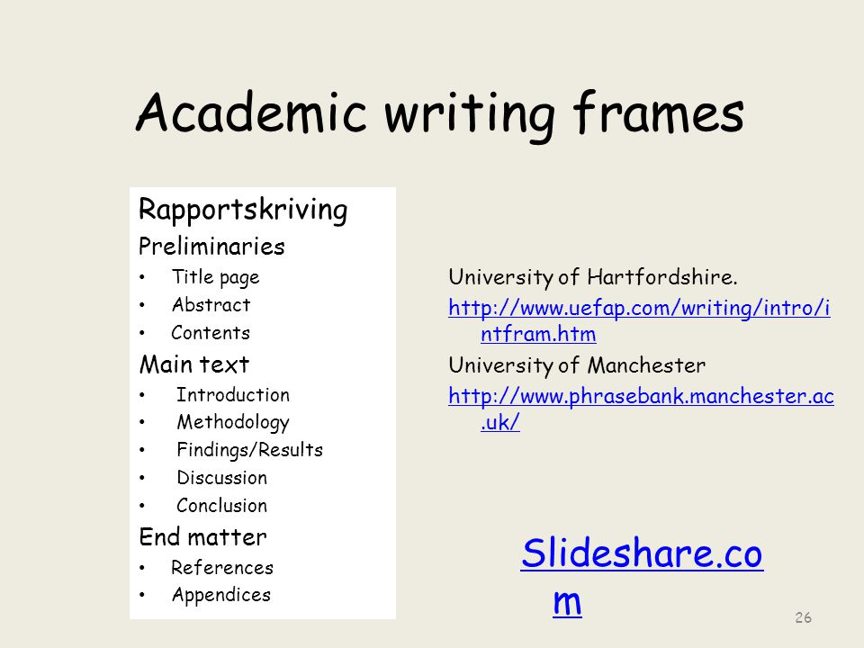 Academic writing frames