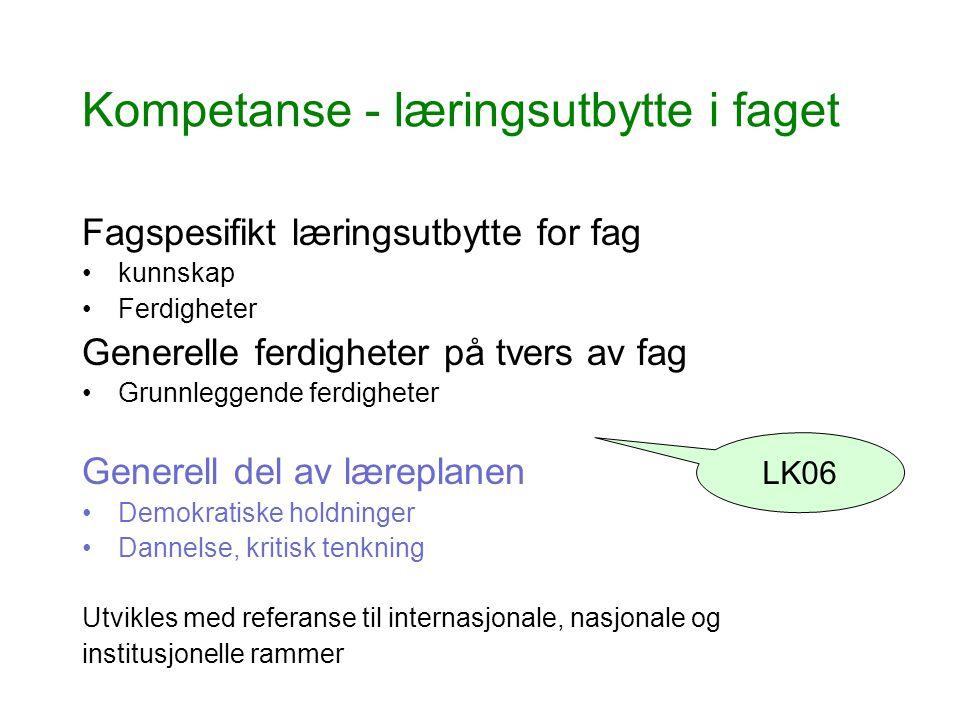 Kompetanse - læringsutbytte i faget