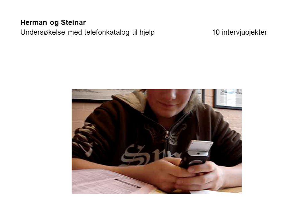 Herman og Steinar Undersøkelse med telefonkatalog til hjelp 10 intervjuojekter