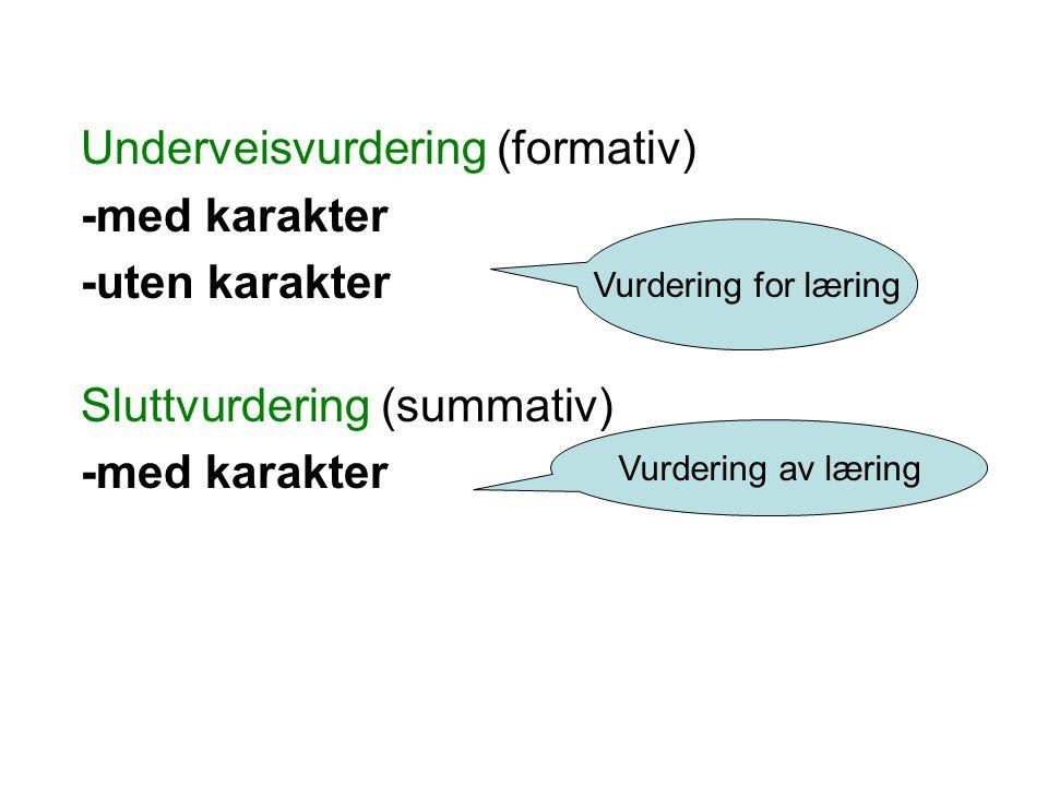 Underveisvurdering (formativ) -med karakter -uten karakter