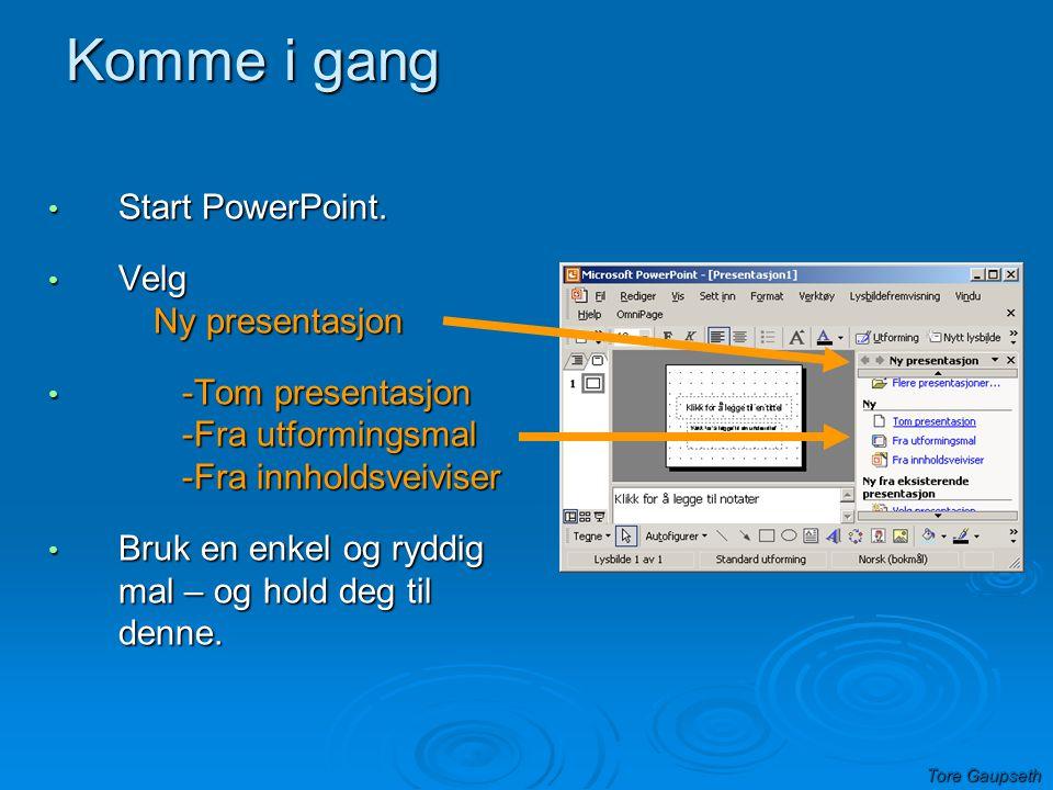 Komme i gang Start PowerPoint. Velg Ny presentasjon