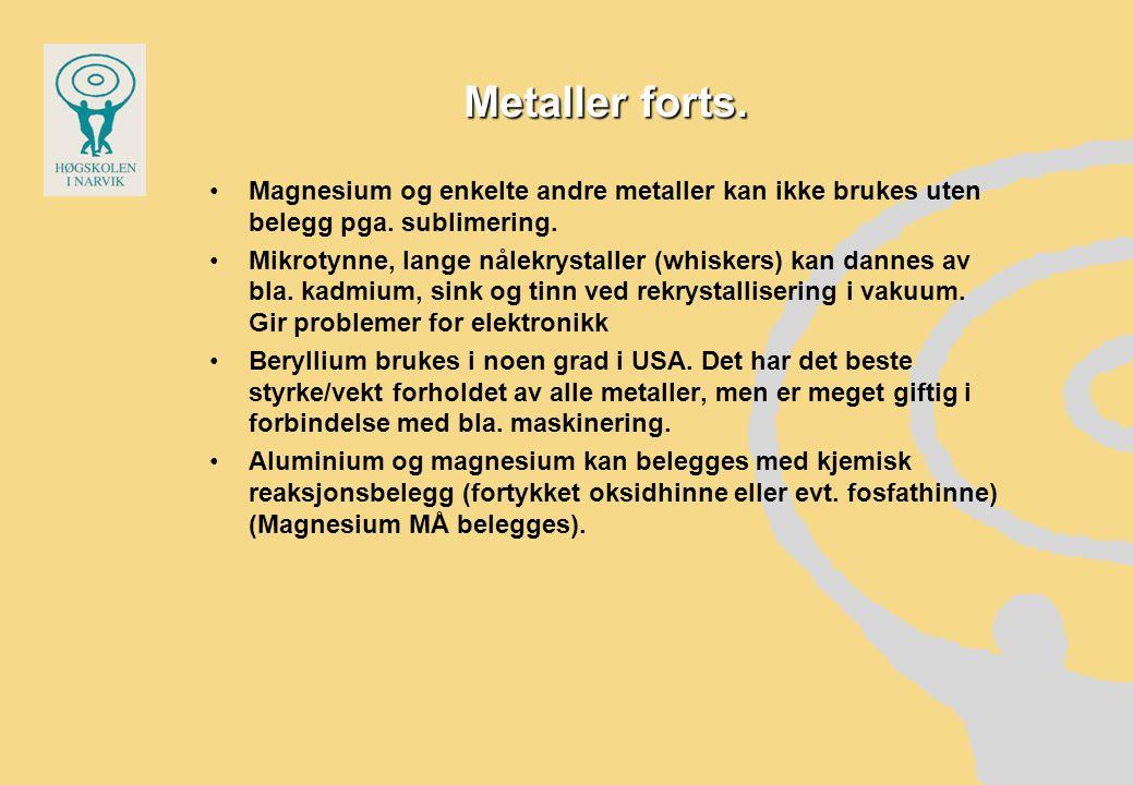 Metaller forts. Magnesium og enkelte andre metaller kan ikke brukes uten belegg pga. sublimering.