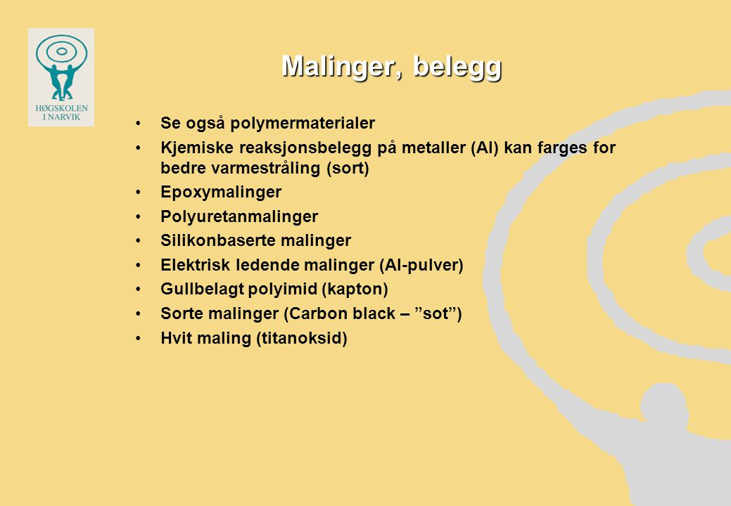 Malinger, belegg Se også polymermaterialer