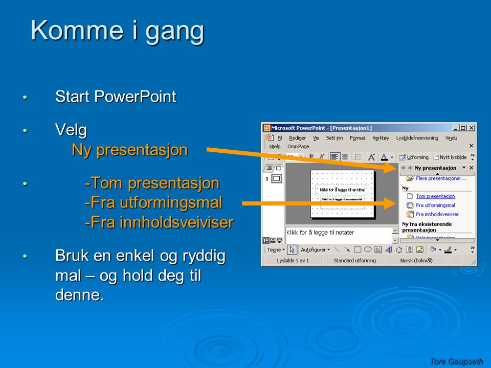 Komme i gang Start PowerPoint Velg Ny presentasjon