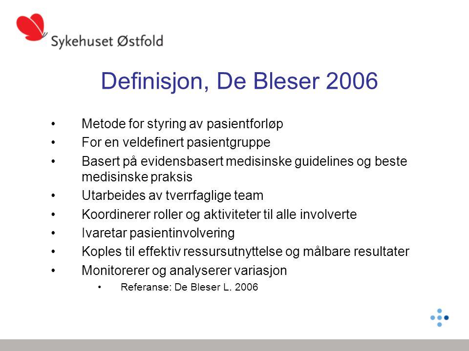 Definisjon, De Bleser 2006 Metode for styring av pasientforløp