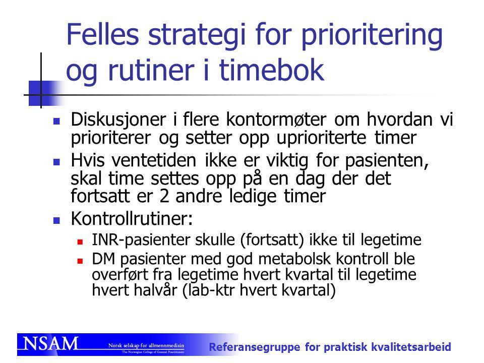 Felles strategi for prioritering og rutiner i timebok