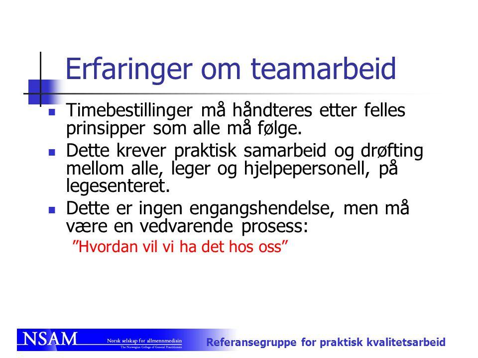 Erfaringer om teamarbeid