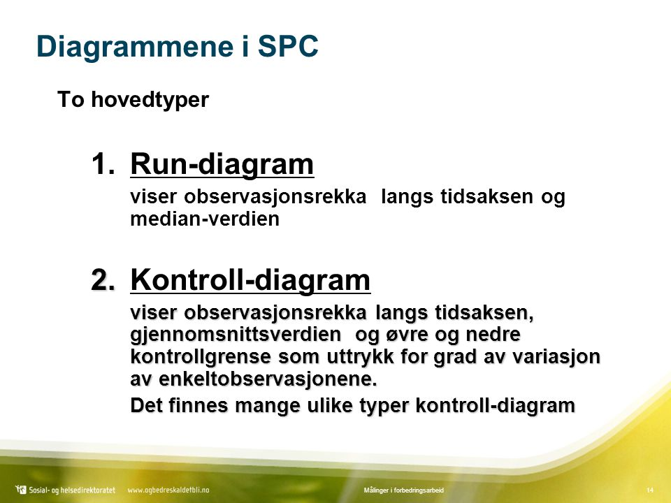 Diagrammene i SPC 1. Run-diagram 2. Kontroll-diagram To hovedtyper