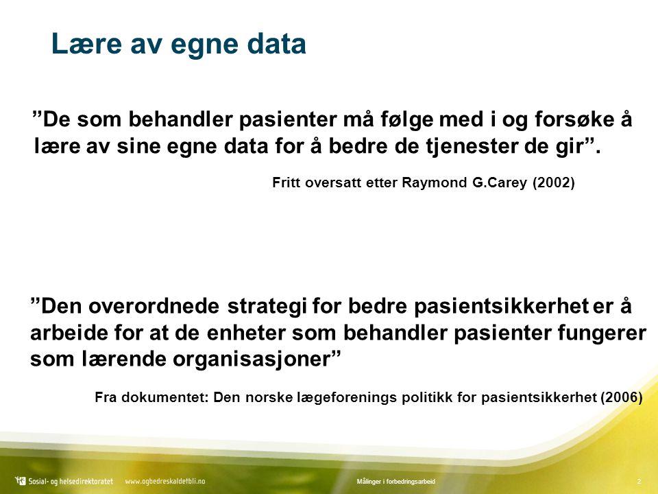 Lære av egne data De som behandler pasienter må følge med i og forsøke å lære av sine egne data for å bedre de tjenester de gir .