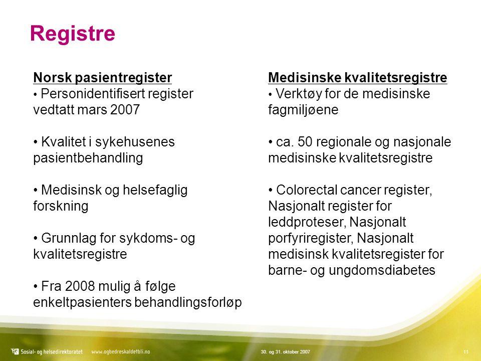 Registre Norsk pasientregister vedtatt mars 2007