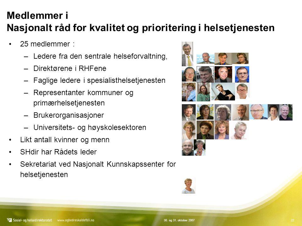 Medlemmer i Nasjonalt råd for kvalitet og prioritering i helsetjenesten