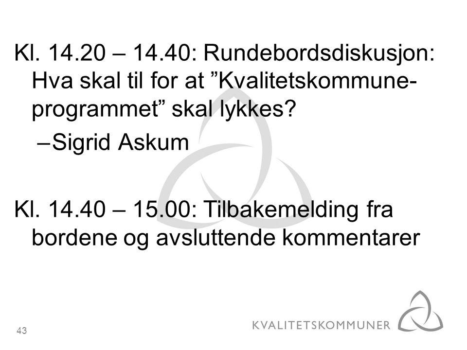 Kl. 14.20 – 14.40: Rundebordsdiskusjon: Hva skal til for at Kvalitetskommune-programmet skal lykkes