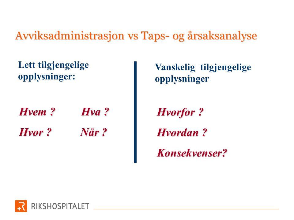 Avviksadministrasjon vs Taps- og årsaksanalyse