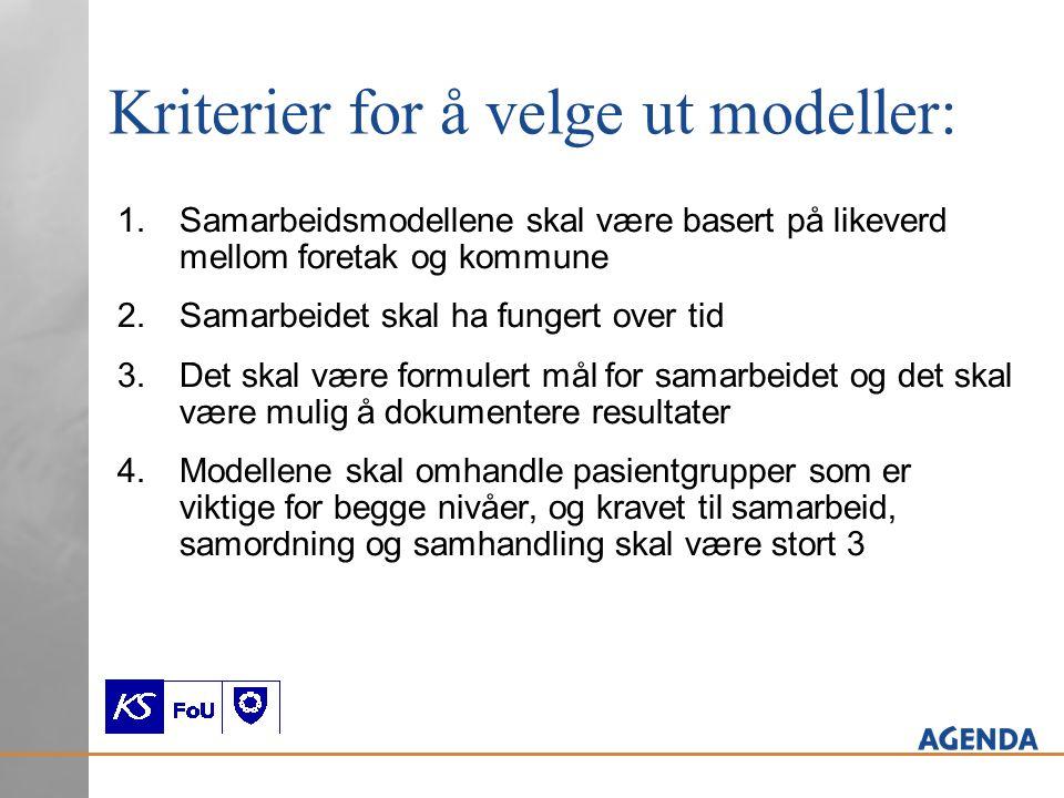 Kriterier for å velge ut modeller: