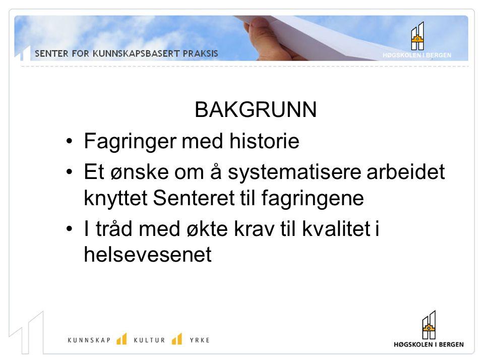 BAKGRUNN Fagringer med historie. Et ønske om å systematisere arbeidet knyttet Senteret til fagringene.