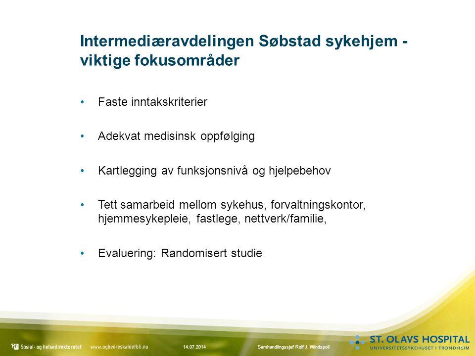 Intermediæravdelingen Søbstad sykehjem - viktige fokusområder