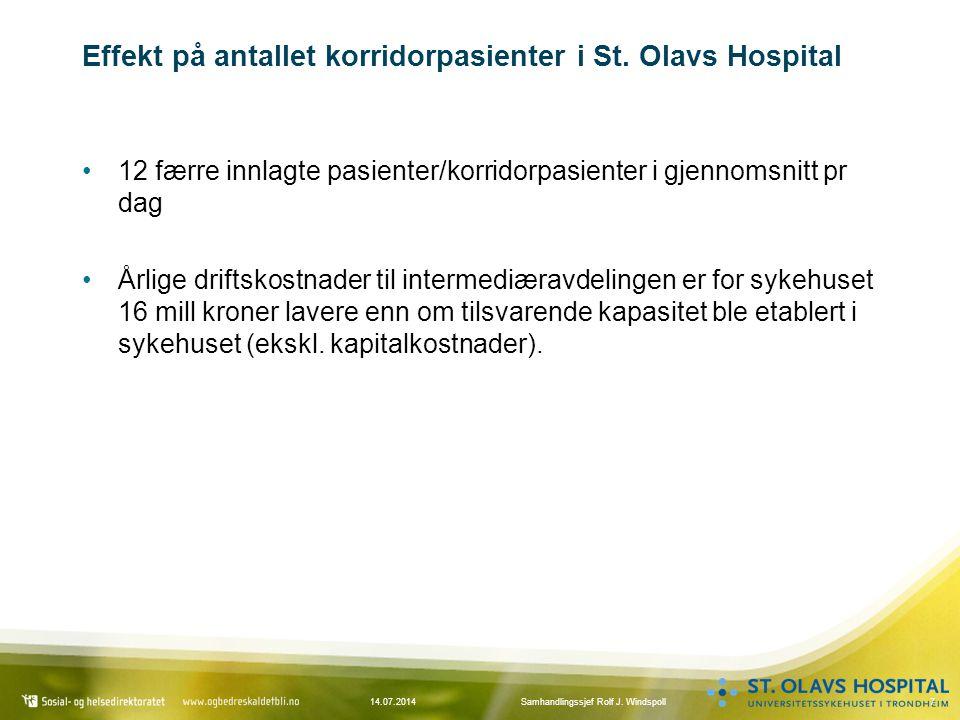 Effekt på antallet korridorpasienter i St. Olavs Hospital