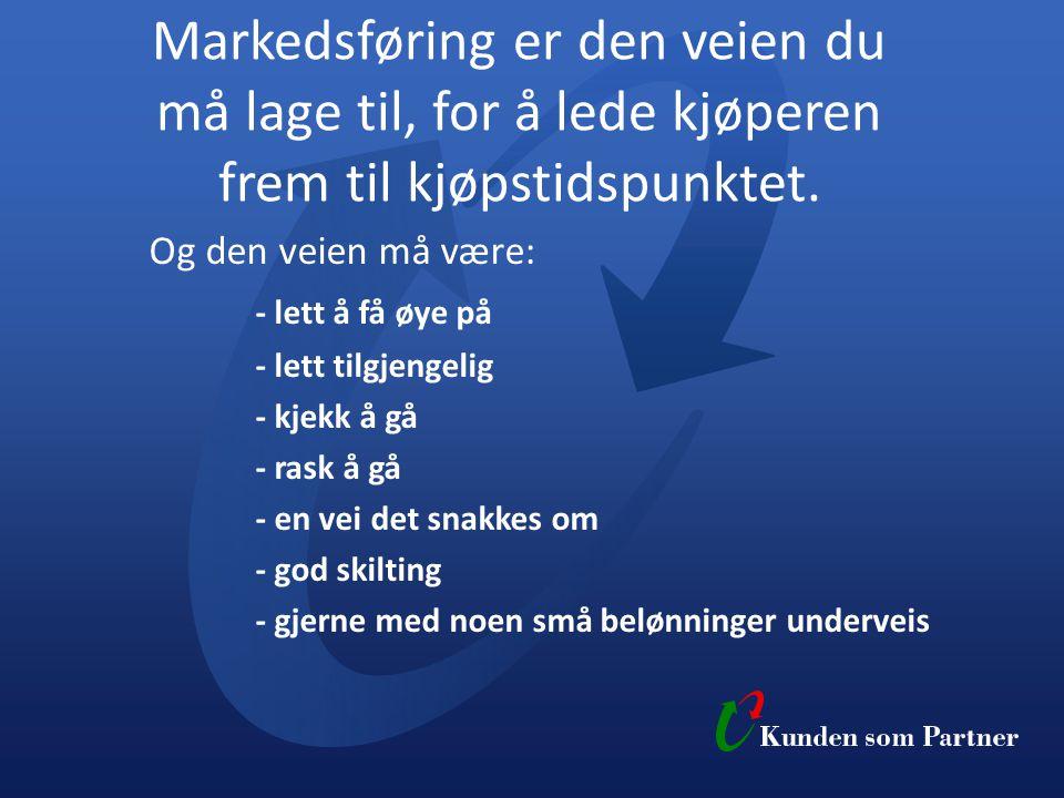 Markedsføring er den veien du må lage til, for å lede kjøperen frem til kjøpstidspunktet.