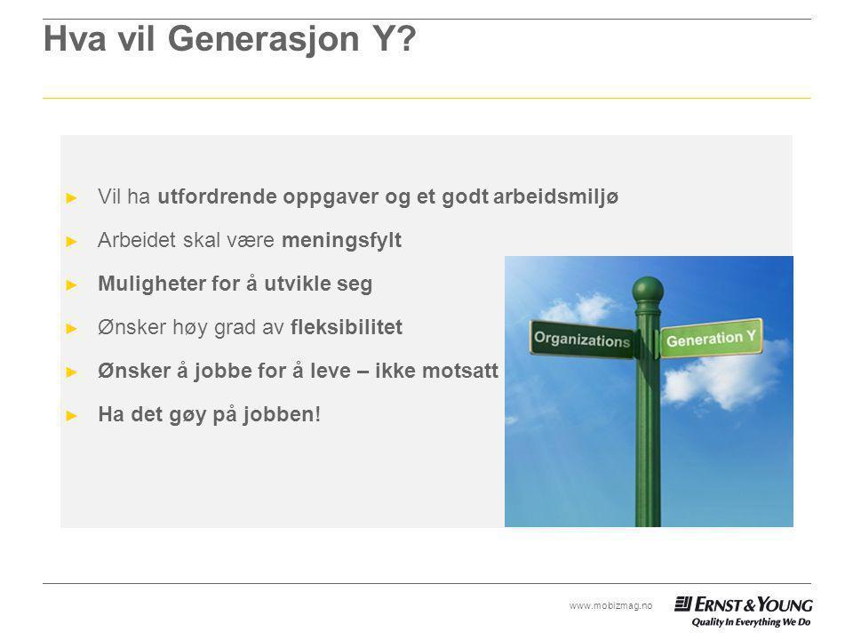 Hva vil Generasjon Y Vil ha utfordrende oppgaver og et godt arbeidsmiljø. Arbeidet skal være meningsfylt.