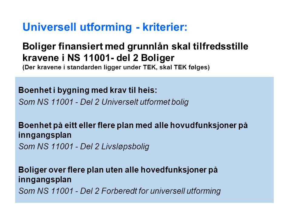 Universell utforming - kriterier: Boliger finansiert med grunnlån skal tilfredsstille kravene i NS 11001- del 2 Boliger (Der kravene i standarden ligger under TEK, skal TEK følges)