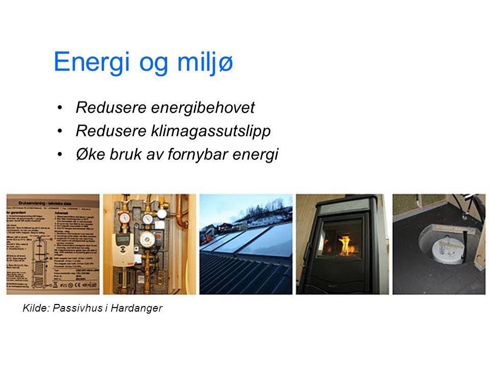 Energi og miljø Redusere energibehovet Redusere klimagassutslipp