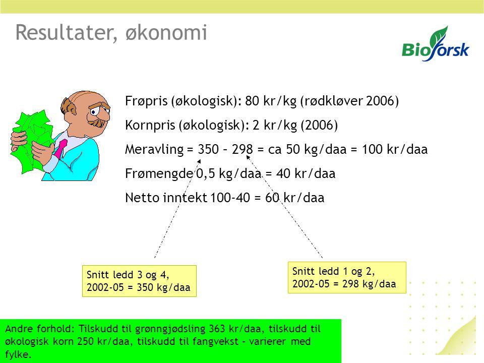 Resultater, økonomi Frøpris (økologisk): 80 kr/kg (rødkløver 2006)