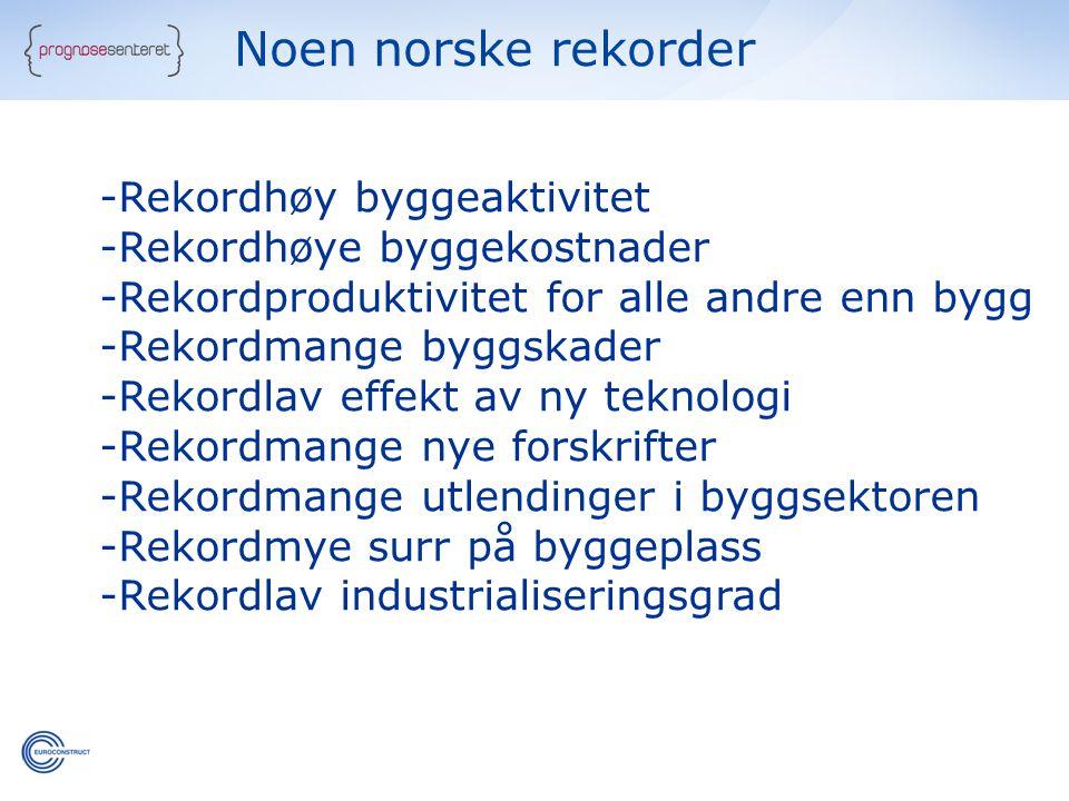 Noen norske rekorder Rekordhøy byggeaktivitet