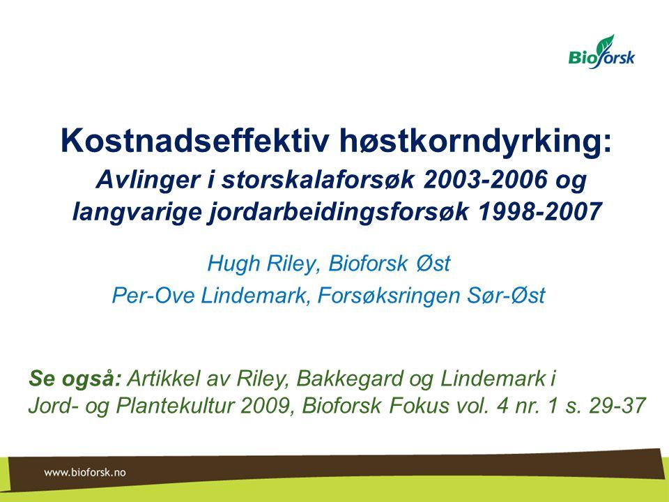 Hugh Riley, Bioforsk Øst Per-Ove Lindemark, Forsøksringen Sør-Øst