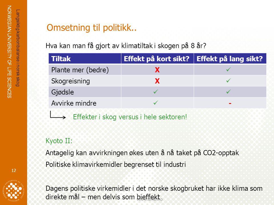 Omsetning til politikk..
