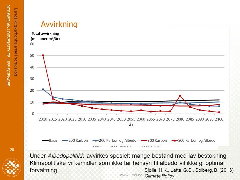 Avvirkning Langsiktig karbonbalanse i norsk skog. Under Albedopolitikk avvirkes spesielt mange bestand med lav bestokning.