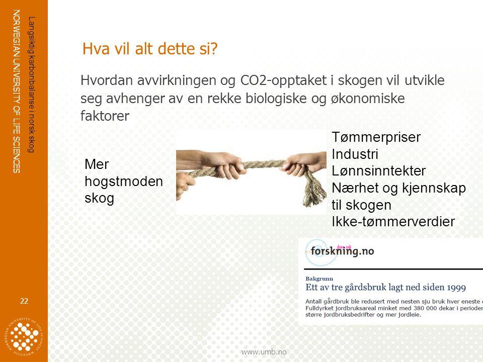 Hva vil alt dette si Hvordan avvirkningen og CO2-opptaket i skogen vil utvikle seg avhenger av en rekke biologiske og økonomiske faktorer.