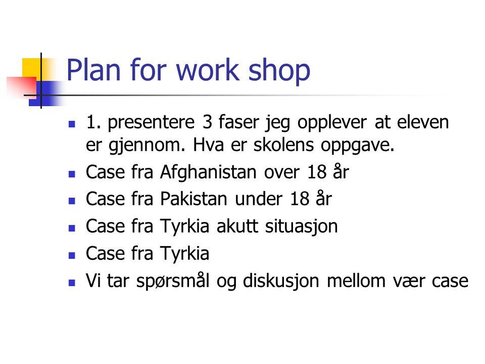 Plan for work shop 1. presentere 3 faser jeg opplever at eleven er gjennom. Hva er skolens oppgave.