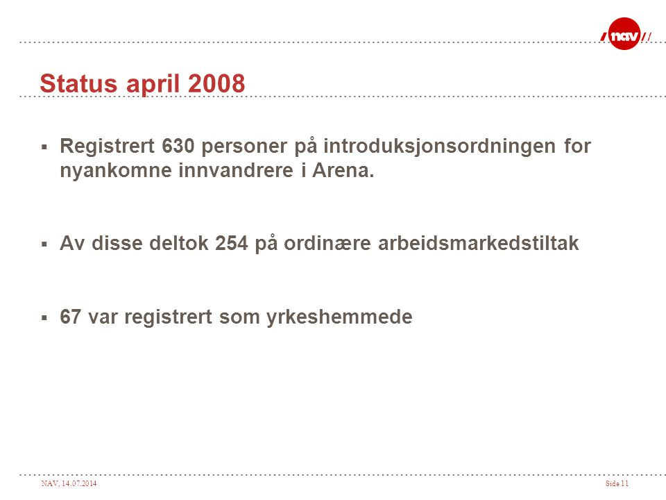 Status april 2008 Registrert 630 personer på introduksjonsordningen for nyankomne innvandrere i Arena.