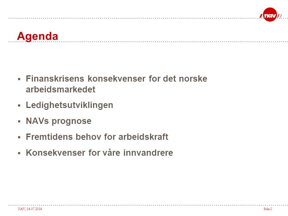 Agenda Finanskrisens konsekvenser for det norske arbeidsmarkedet