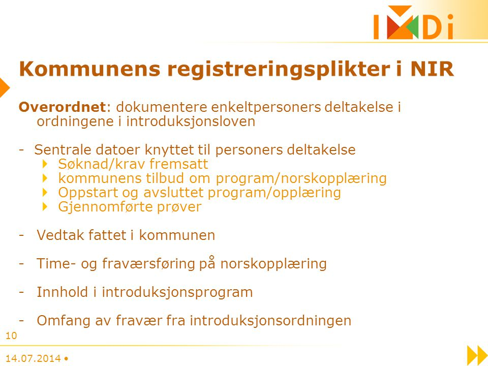 Kommunens registreringsplikter i NIR