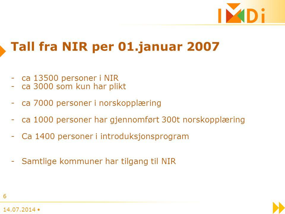 Tall fra NIR per 01.januar 2007 ca 13500 personer i NIR