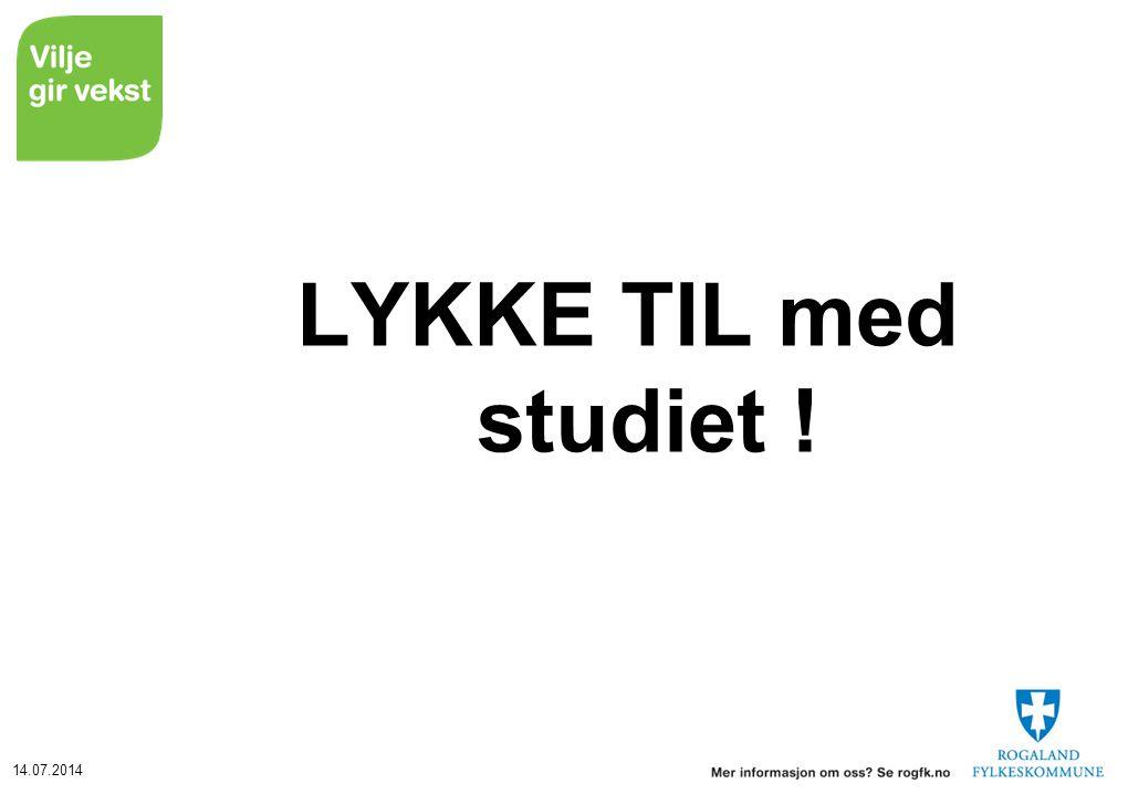 LYKKE TIL med studiet !