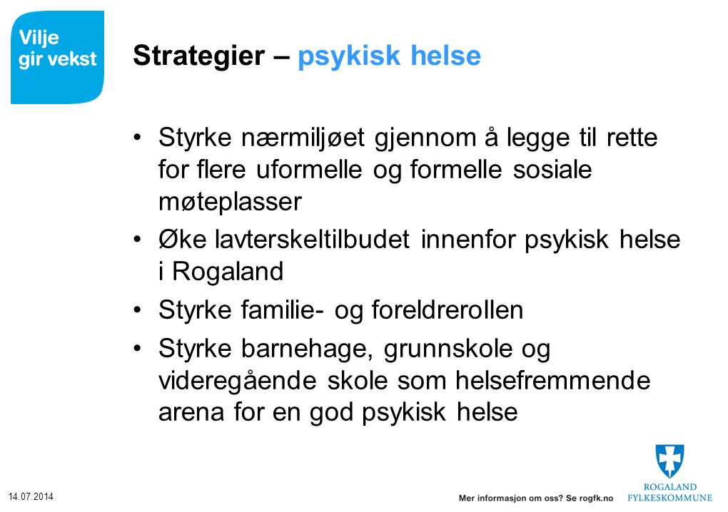 Strategier – psykisk helse