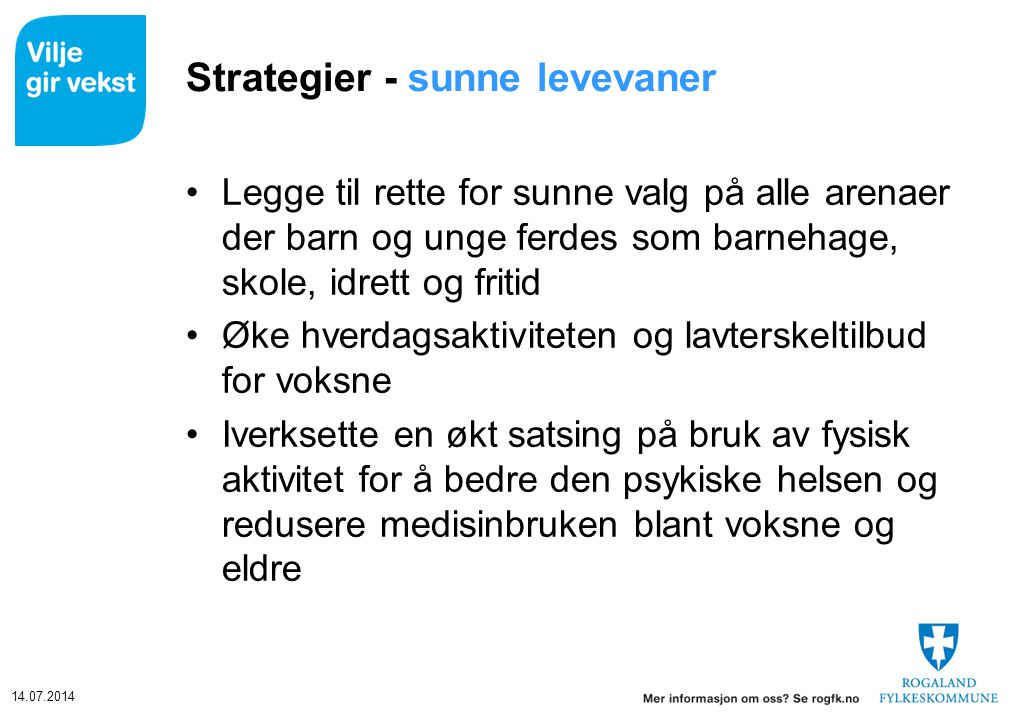 Strategier - sunne levevaner